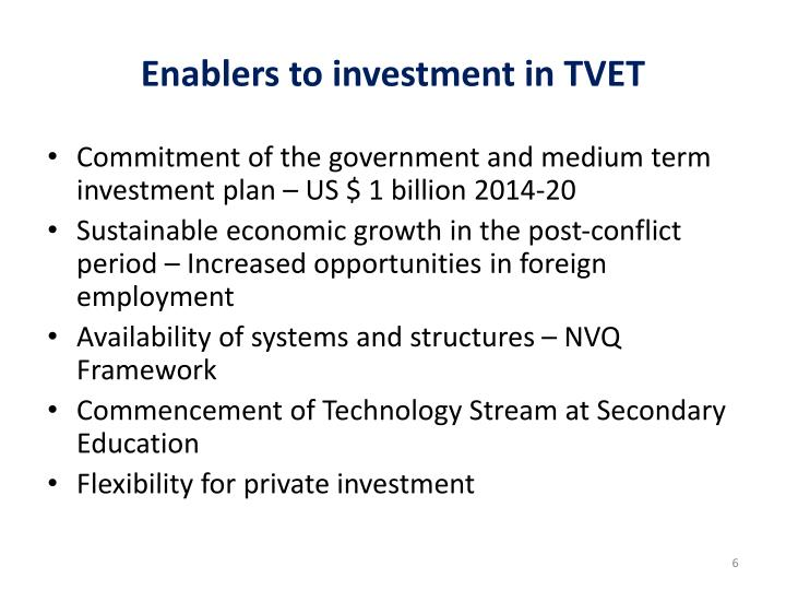 Enablers to investment in TVET