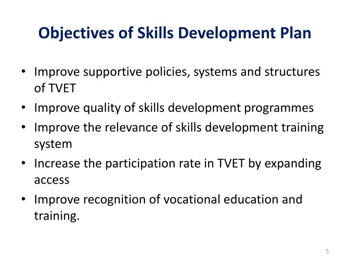 Objectives of Skills Development Plan