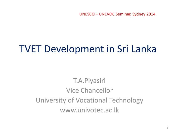 Tvet development in sri lanka
