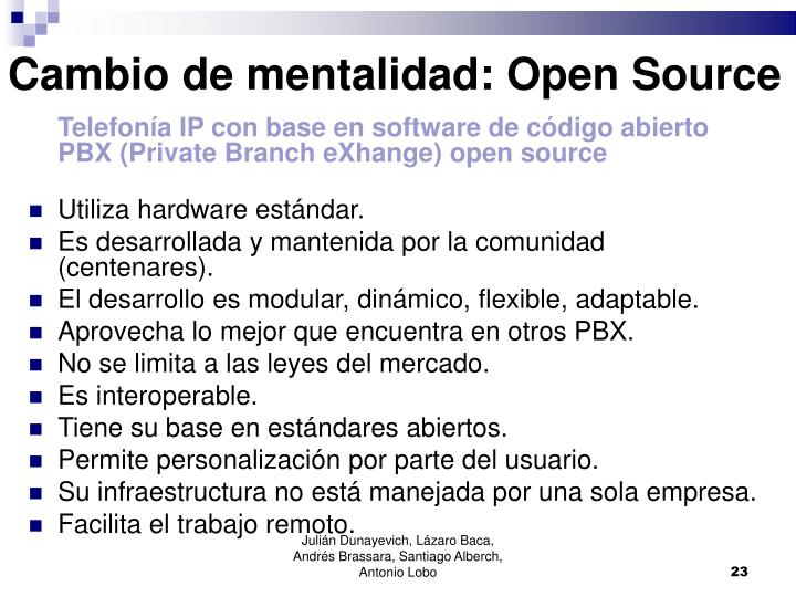 Cambio de mentalidad: Open Source