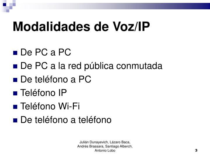 Modalidades de Voz/IP