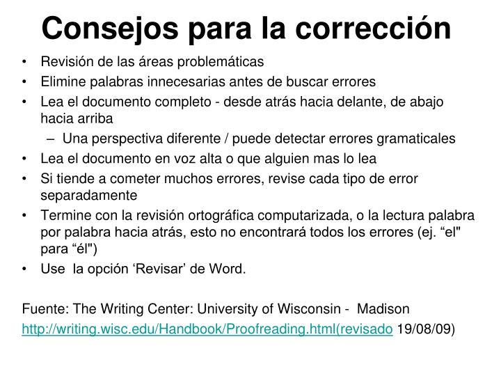 Consejos para la corrección