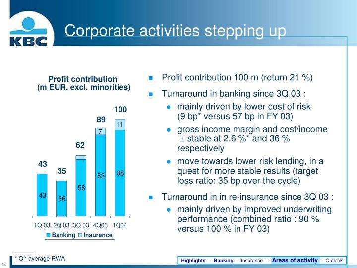 Profit contribution 100 m (return 21 %)