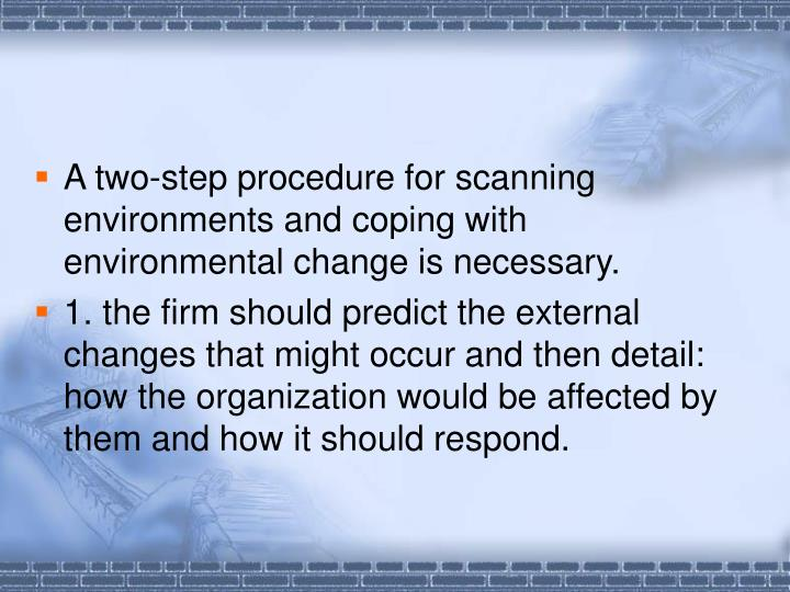 A two-step procedure for scanning environments and coping with environmental change is necessary.