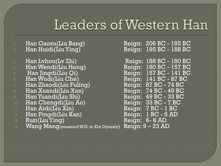 Leaders of Western Han