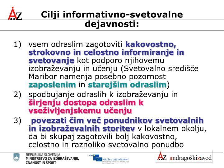 Cilji informativno-svetovalne