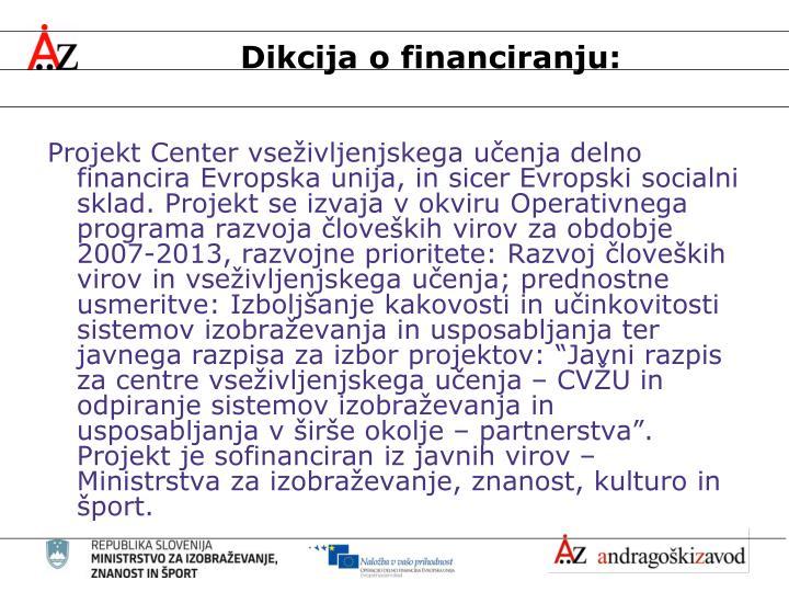 Dikcija o financiranju: