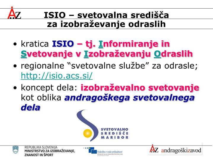 ISIO – svetovalna središča