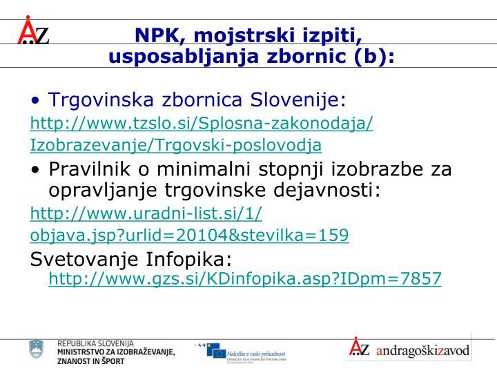 NPK, mojstrski izpiti,