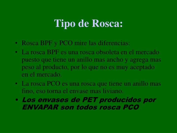 Tipo de Rosca: