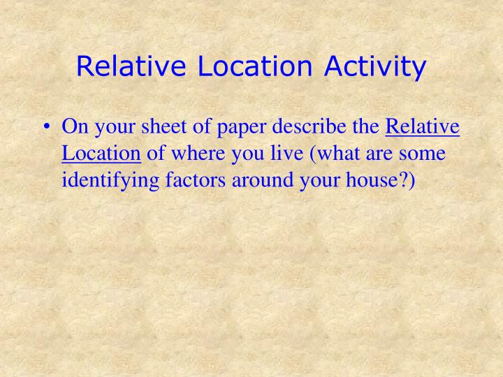 Relative Location Activity