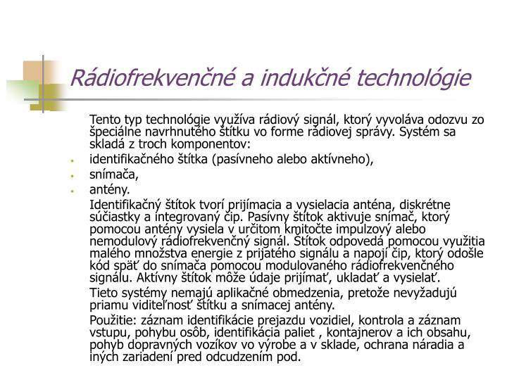 Rádiofrekvenčné a indukčné technológie