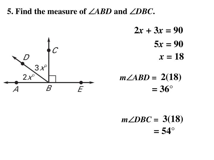 5. Find the measure of