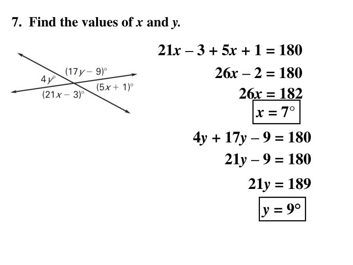 7.  Find the values of