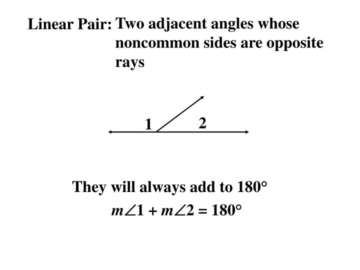 Two adjacent angles whose noncommon sides are opposite rays