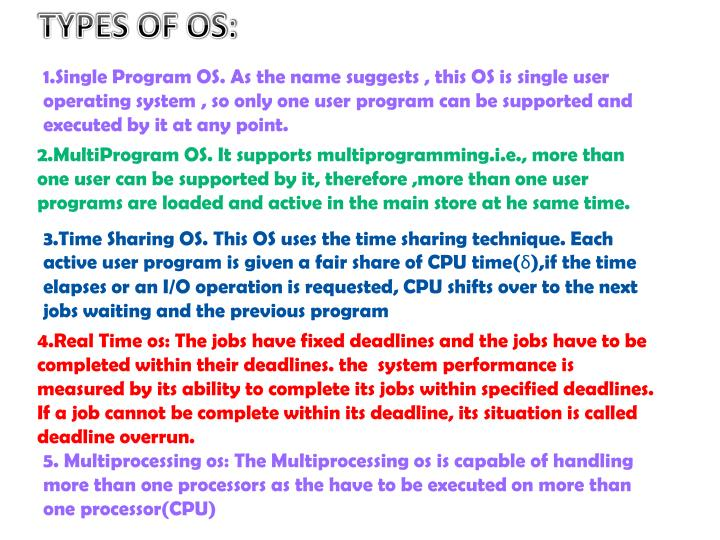 TYPES OF OS: