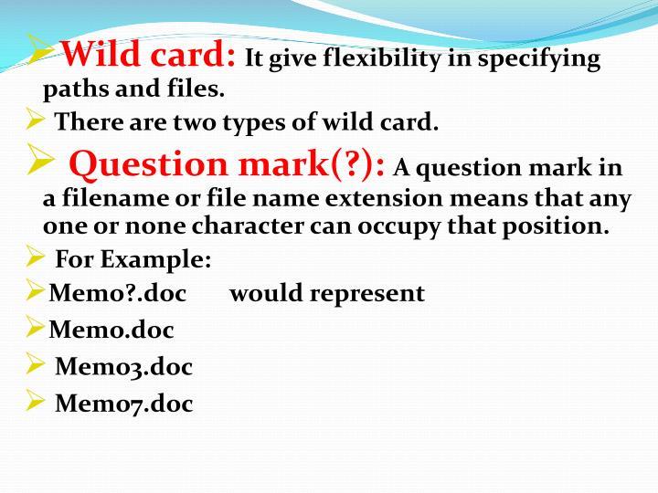 Wild card: