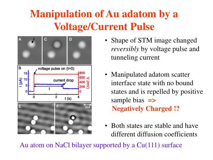 Manipulation of Au adatom by a Voltage/Current Pulse