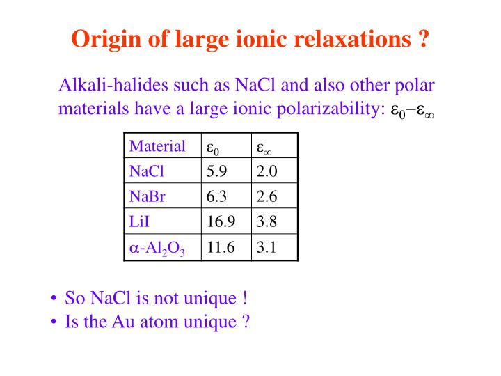 Origin of large ionic relaxations ?