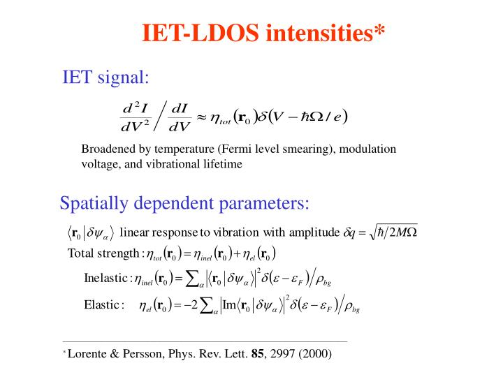 IET-LDOS intensities*