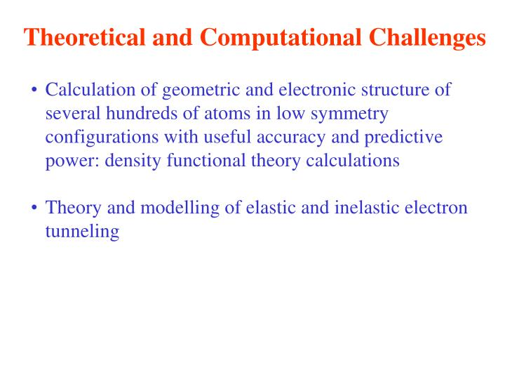 Theoretical and Computational Challenges