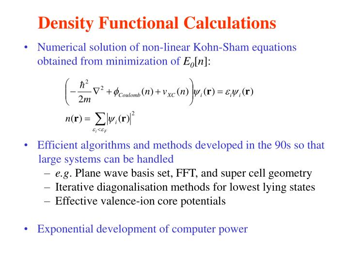 Density Functional Calculations