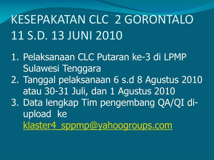 KESEPAKATAN CLC  2 GORONTALO