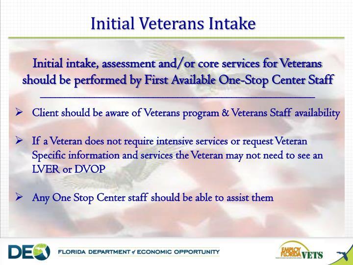 Initial Veterans Intake