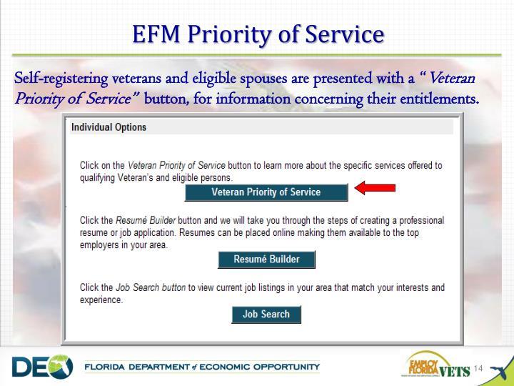 EFM Priority of Service