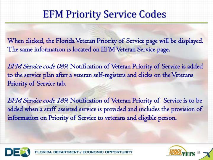 EFM Priority Service Codes