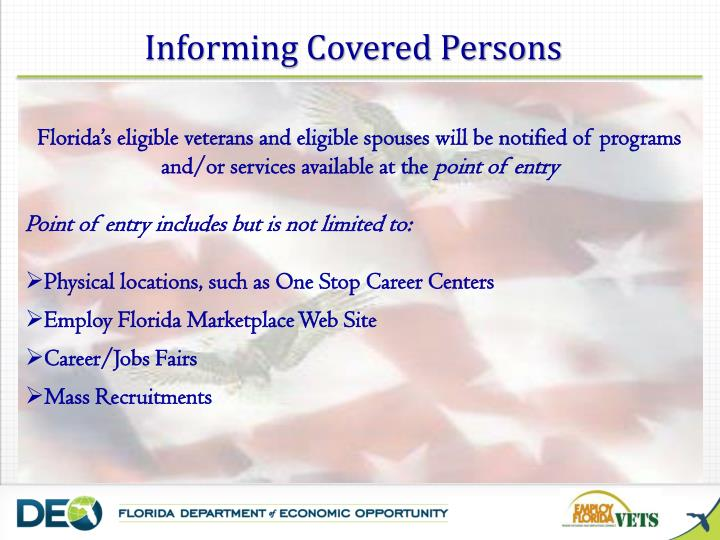 Informing Covered Persons