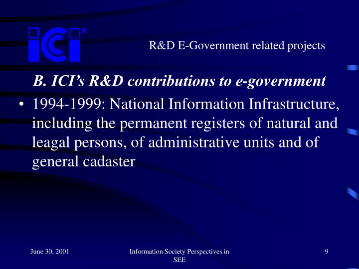 R&D E-Government related projects