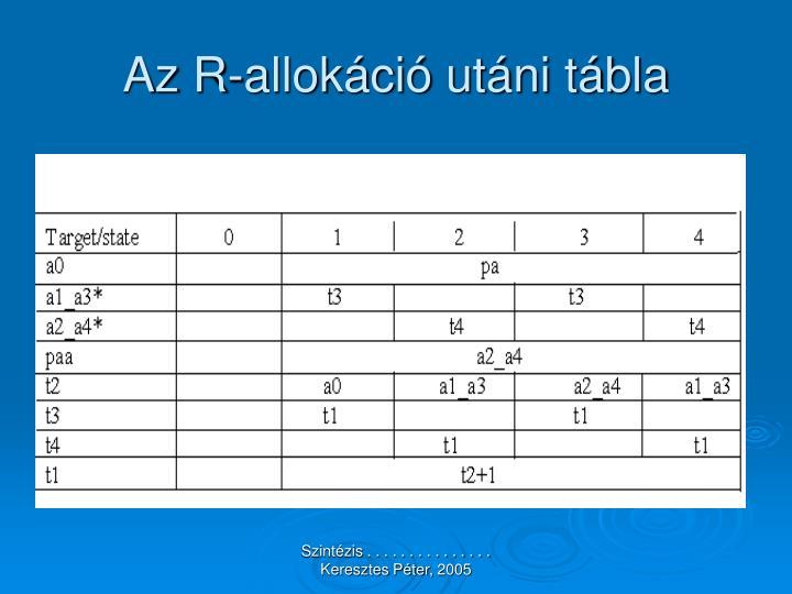 Az R-allokáció utáni tábla