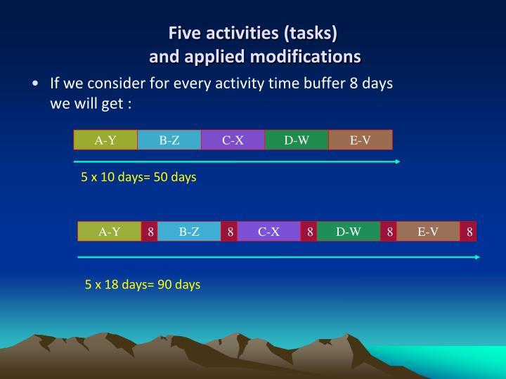 Five activities (tasks)