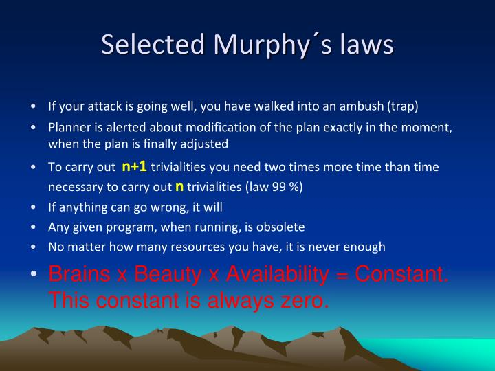 Selected Murphy´s laws