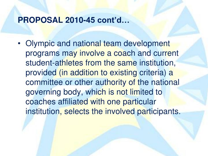 PROPOSAL 2010-45 contd