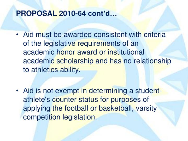 PROPOSAL 2010-64 contd