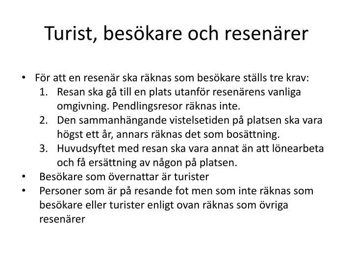Turist, besökare och resenärer