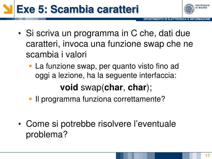 Exe 5: Scambia caratteri