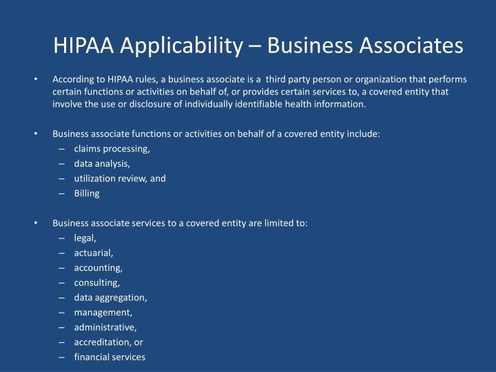 HIPAA Applicability – Business Associates