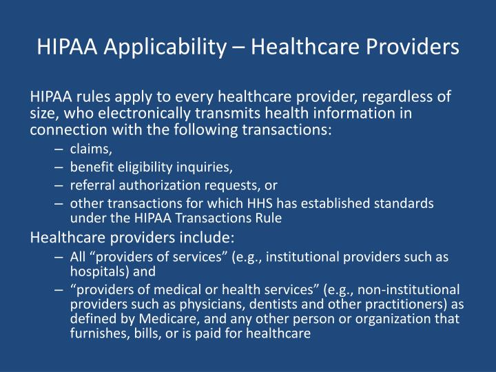 HIPAA Applicability – Healthcare Providers