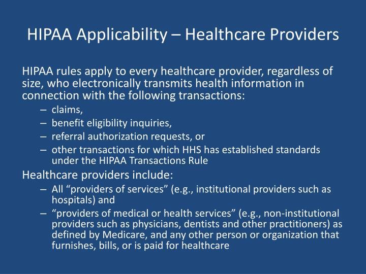 HIPAA Applicability – Healthcare Providers