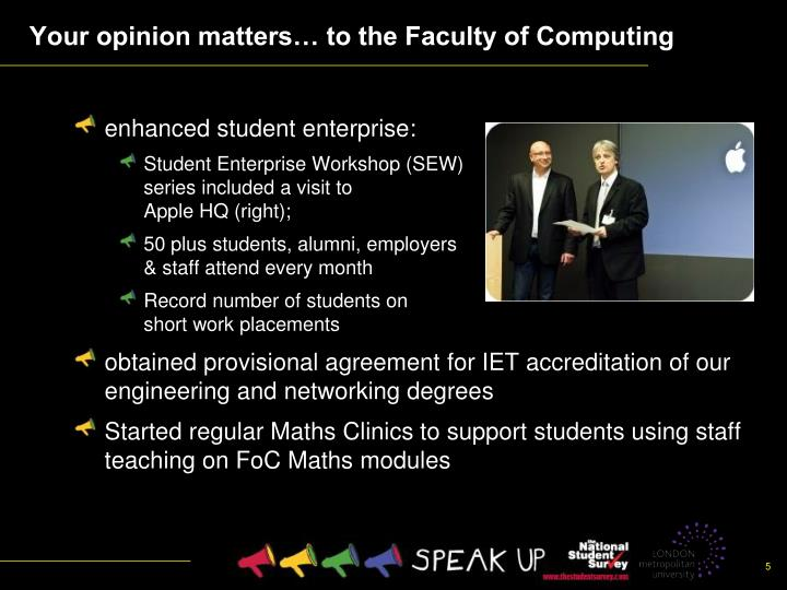Your opinion matters… to the Faculty of Computing
