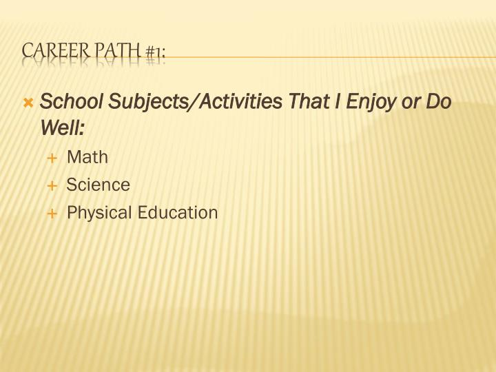 School Subjects/Activities That I Enjoy or Do Well: