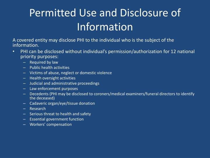 Permitted Use and Disclosure of Information