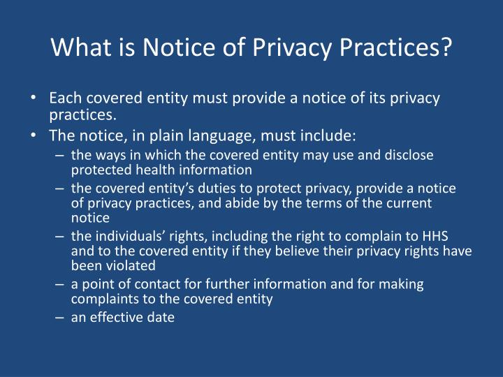 What is Notice of Privacy Practices?