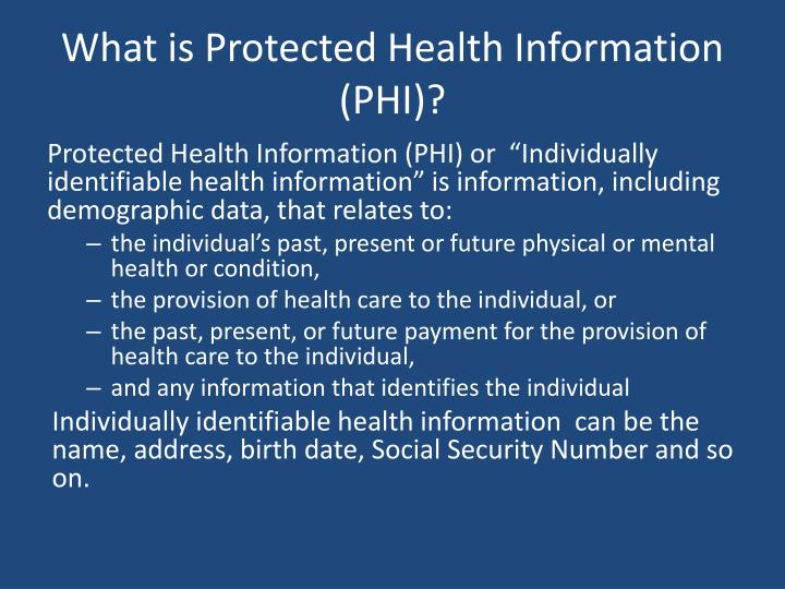 What is Protected Health Information (PHI)?