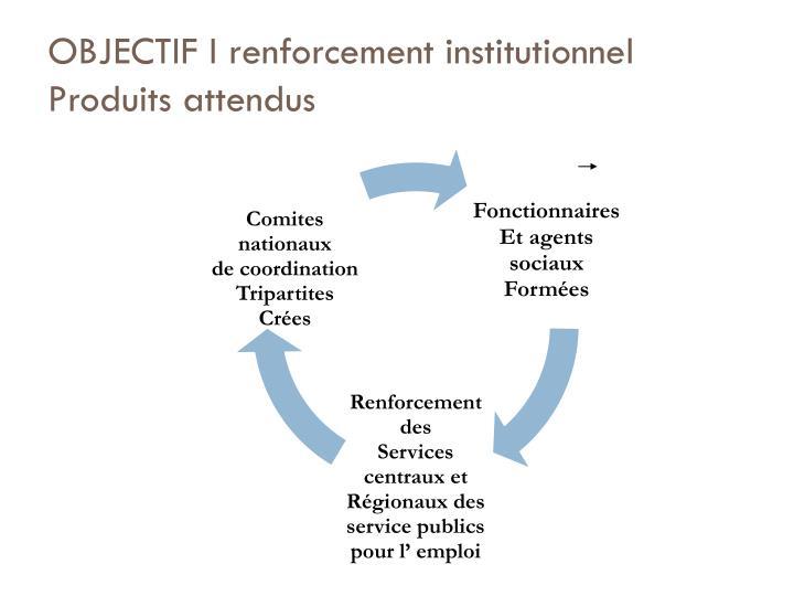 OBJECTIF I renforcement institutionnel Produits attendus
