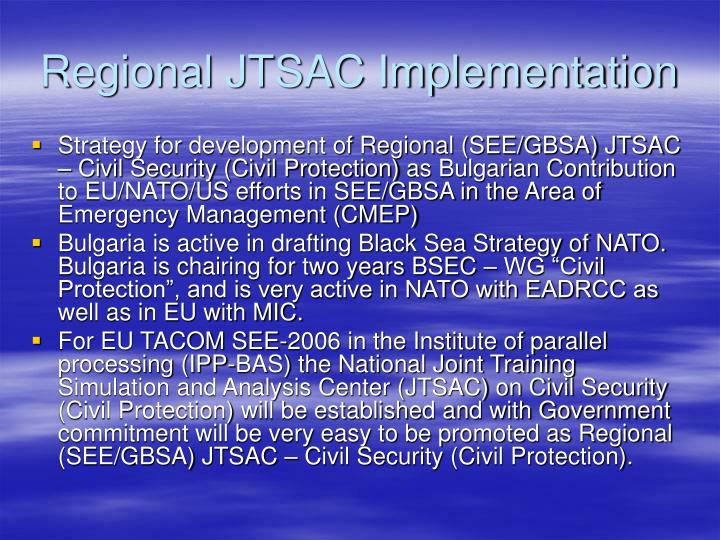 Regional JTSAC Implementation