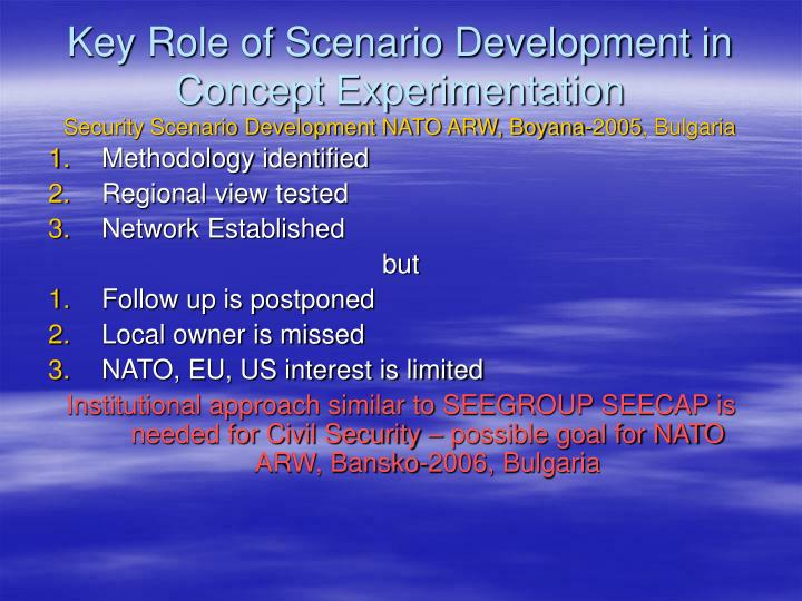 Key Role of Scenario Development in Concept Experimentation